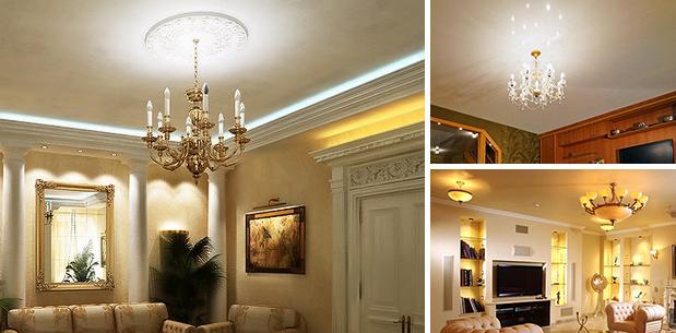 традиционные источники света с натяжными потолками