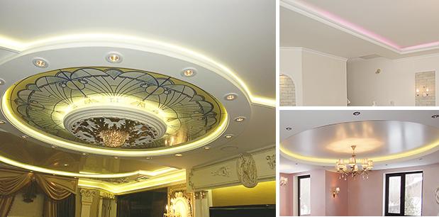 светодиодная лента для освещения натяжного потолка фото примеров
