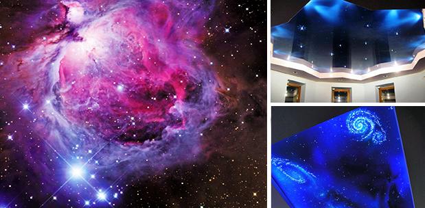 звездное небо для освещения потолка фото в интерьере